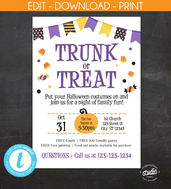 trunk or treat halloween event flyer and invite community