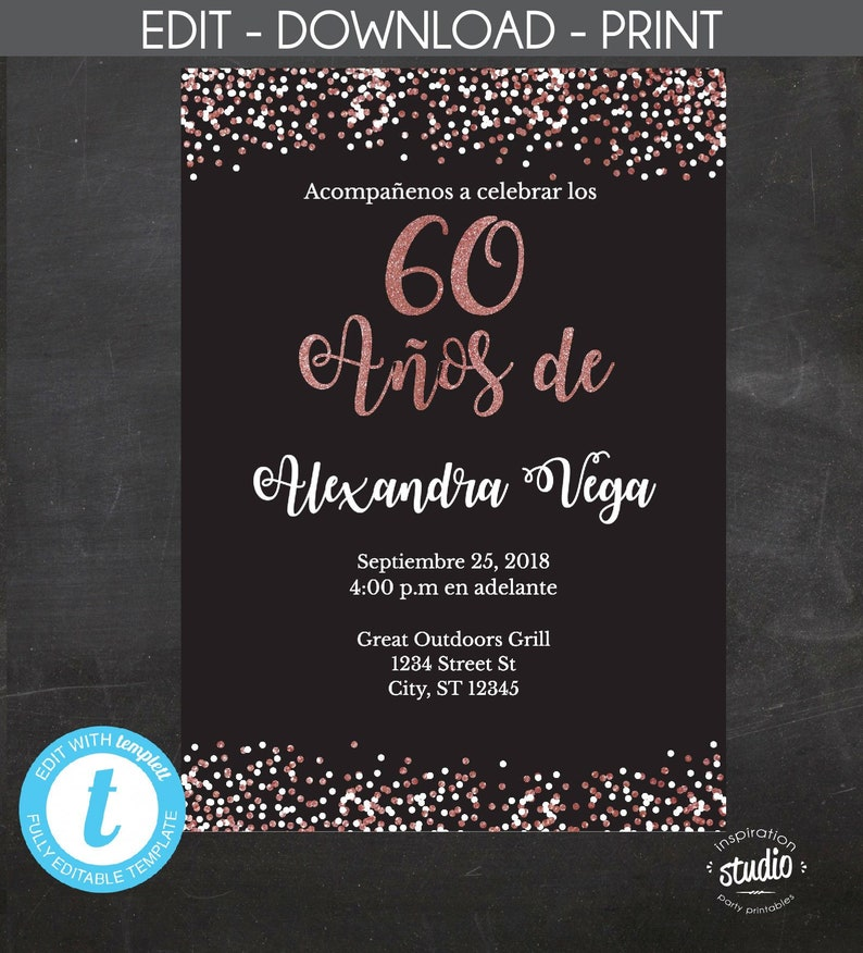60 Anos De Spanish 60th Birthday Invitation Invitacion
