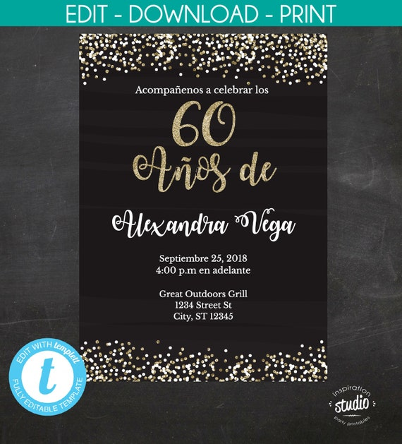 60th Birthday Invitation 60 Anos De Spanish Black And Gold Glitter Template 2 Size Options 5 X 7 4 6 Edit Yourself