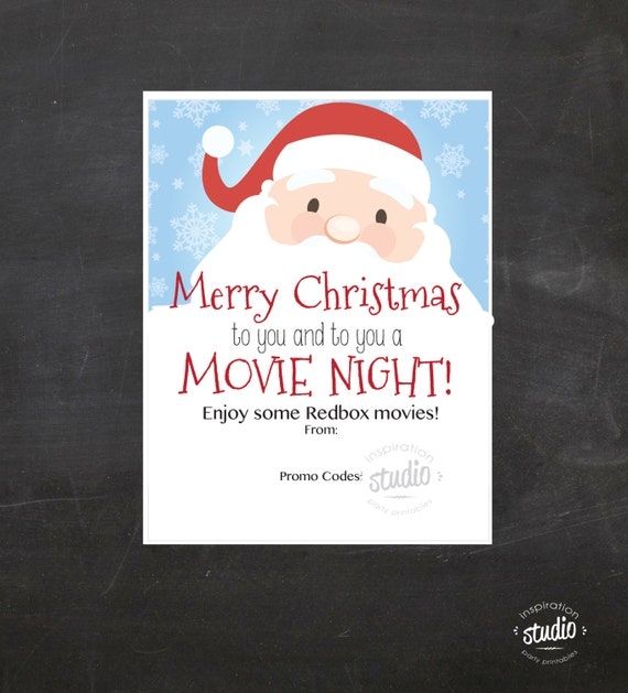 christmas redbox movie printable use it to gift promo codes movie night redbox gift certificate instant download - Redbox Christmas Movies