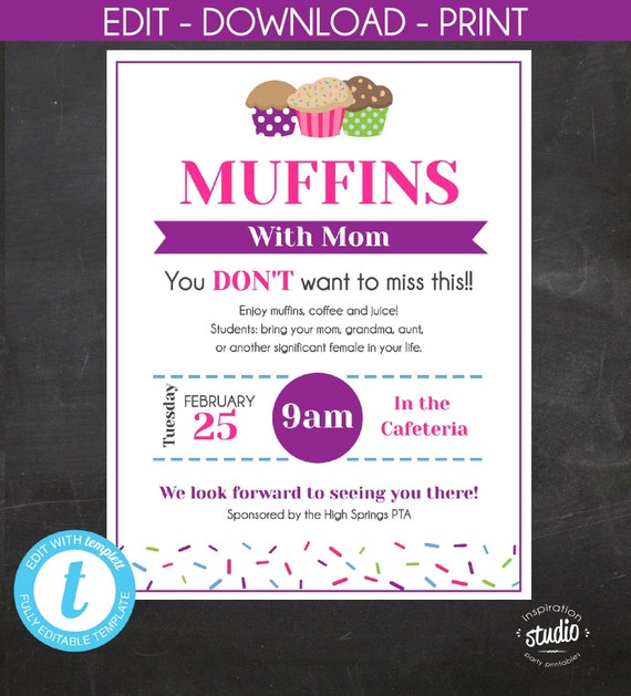 Muffins With Mom Flyer, Flyer, PTA, PTO, School Event