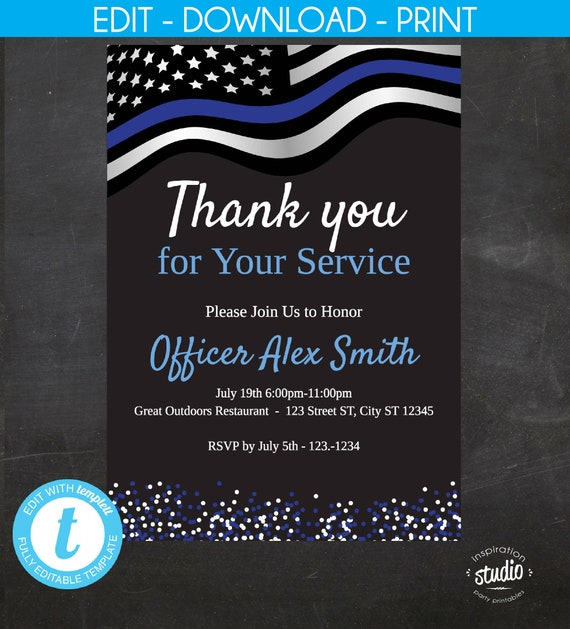 Police Retirement Invitation Thank You For Your Service