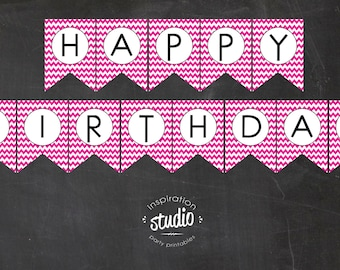 Chevron Printable Happy Birthday Flag Pennant Banner- Pink and Black  -  Instant Download