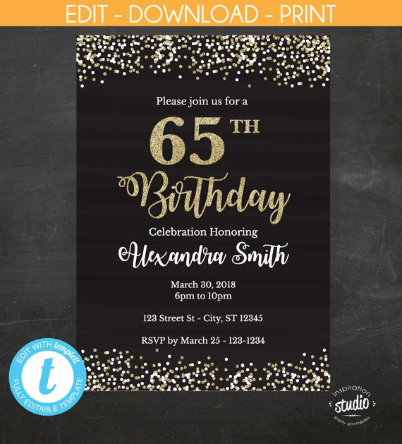 65th Birthday Invitation Invite Black And Gold Glitter Instant Template 5 X 7 4 6 Edit Yourself Templett