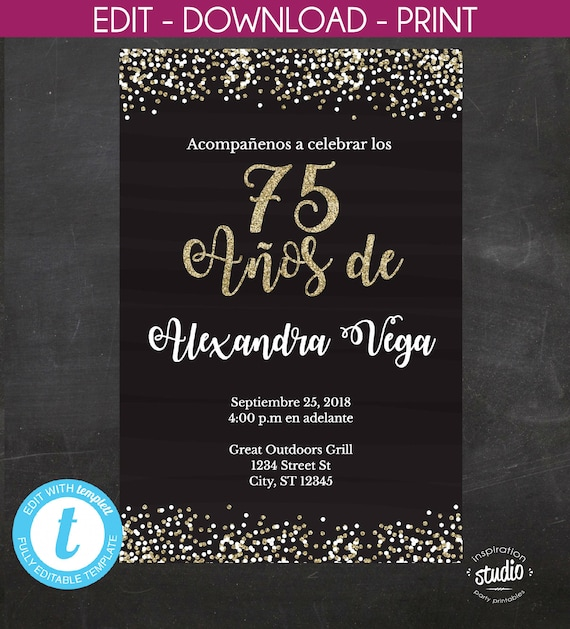 75th Birthday Invitation 75 Anos De Spanish Black And Gold Glitter Template 2 Size Options 5 X 7 4 6 Edit Yourself