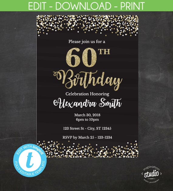 60th Birthday Invitation Invite Black And Gold Glitter Instant Template 2 Size Options 5 X 7 4 6 Edit Yourself
