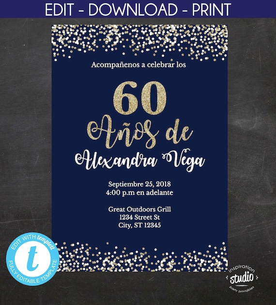 60 Anos De Spanish 60th Birthday Invitation Blue And Gold Glitter Template 2 Size Options 5 X 7 4 6 Edit Yourself