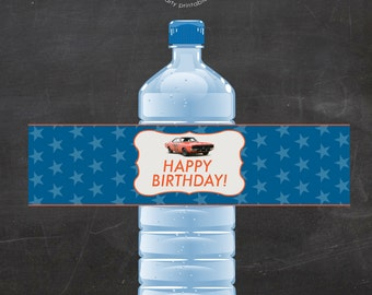 Printable Dukes of Hazzard Inspired (General Lee) Water Bottle Wrappers -  (instant download)
