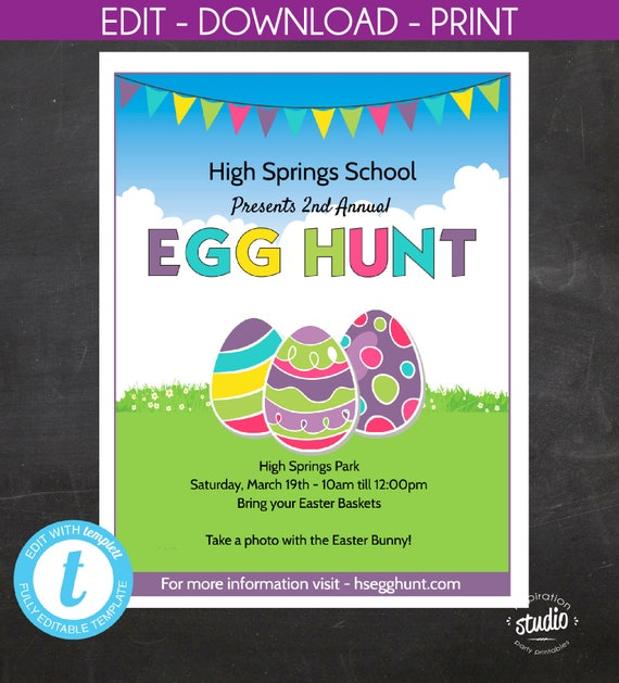 Easter Egg Hunt Flyer, School or Church or any ...