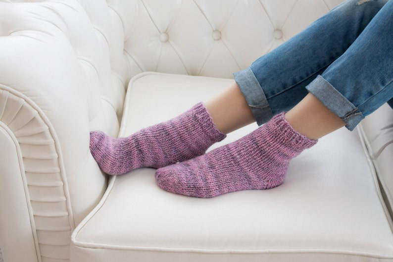 Pink Purple Wool Socks Warm Knitted Winter High-Quality House Home Socks Women Unique Socks Housewarming Birthday Valentines Gifts