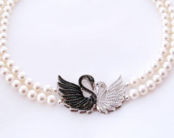 766190b4f9cc 12th Anniversary Gift for Her Pearl Swan Necklace Pearl Jewelry CZ Love Swan  Pearl Necklace Pearl Anniversary Gift for Her