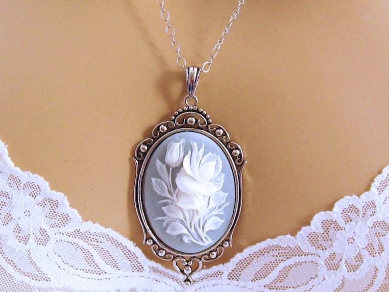 Flower Cameo Necklace Victorian Black Cameo Rose Blue Cameo image 0