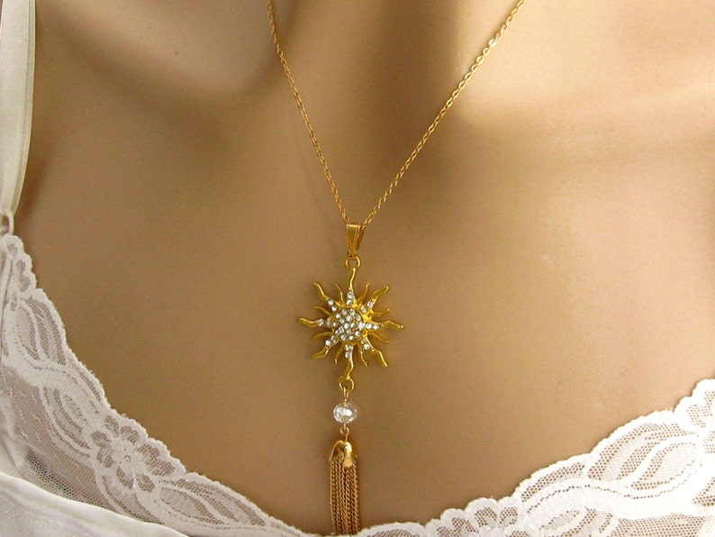 Silver Choose Your Length Rhinestone Gold Tassel Necklace