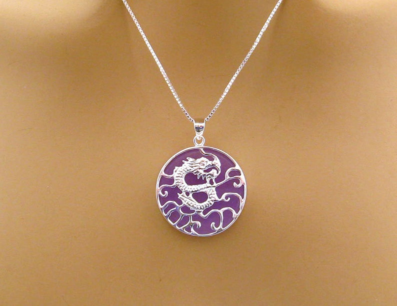 Lavender Jade Sterling Silver Dragon Necklace Chinese Dragon Purple Jade Luck Wisdom Jewelry Gift for Her