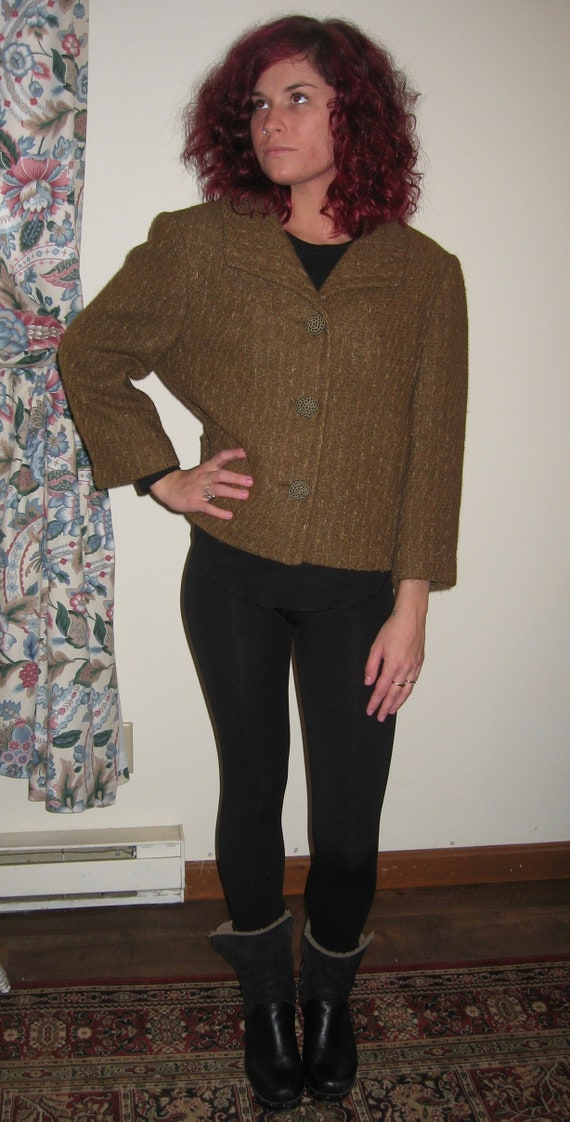 1950's Wool Tweed  Cropped Jacket  - Size Large