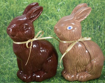 Fake Chocolate Bunny Rabbit Chick Cart SOLID Handmade Faux Easter Spring Centerpiece Basket Filler