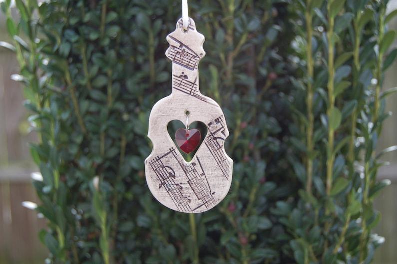 Musical Sun Catchers Violin Ornament Piano Ornament Ceramic Musical Instrument Ornaments Music Lover Gift Music Notes Guitar Ornament
