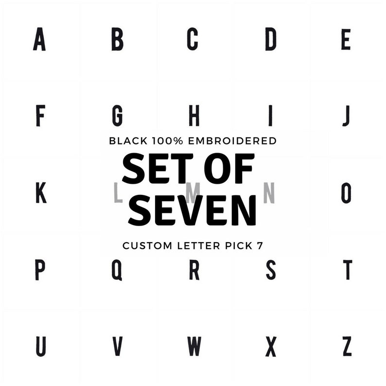 Modern Sans Serif Font 2 tall or 4 tall Black Patch 100/% Embroidered CUSTOM PICK Your 7 Pieces Iron On Letters and Numbers