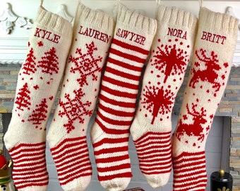 Personalized Christmas Stockings Hand Knit Wool Stockings White With Red Accents