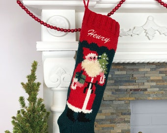 knitted christmas stockings personalized wool christmas stocking vintage style christmas stocking embroidered wool stocking