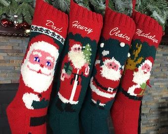 Personalized Christmas stockings hand knit wool vintage Santa sock