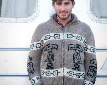 Cowichan Cardigan Sweater Tribal Bird Cardigan Canadian Style Jumper Handmade made to order