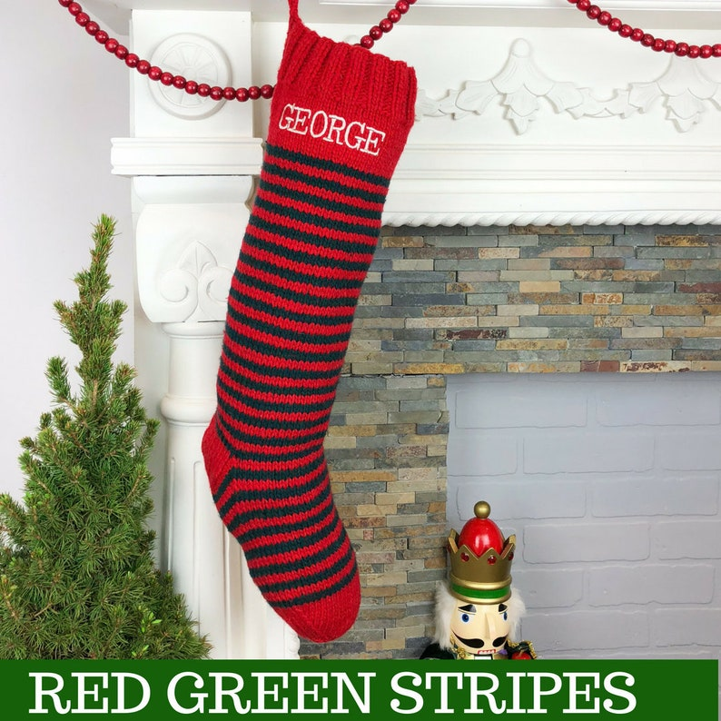 Christmas Stocking Personalized Knit Custom Red White Green Wool Striped Snowflake Hand Knit Holiday Stockings