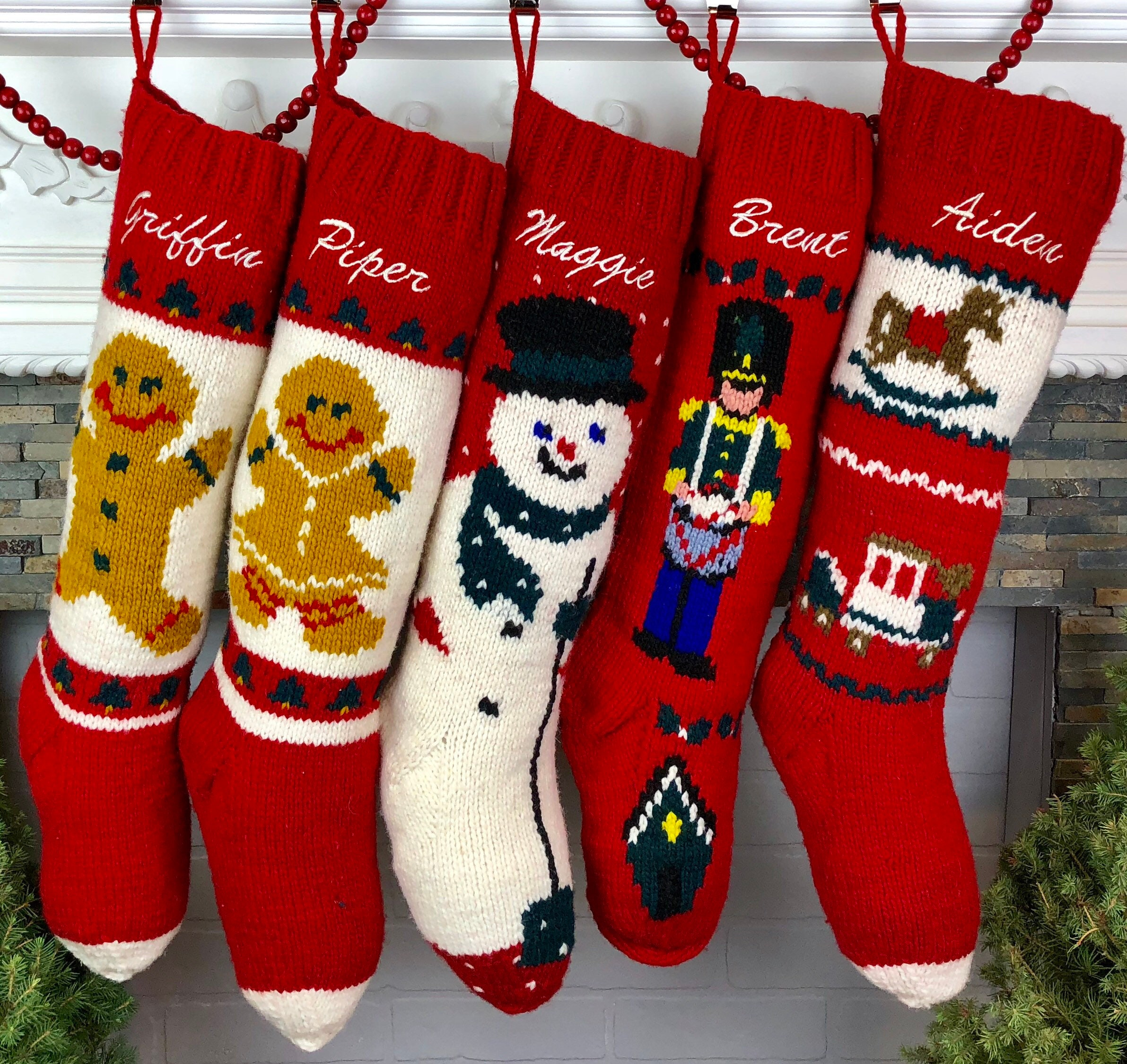 060838d24fa Personalized Christmas Stocking Hand Knit Wool Xmas Holiday