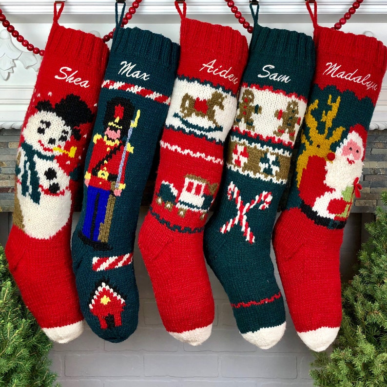 706abb277a0 Christmas Stocking Personalized Hand Knit Wool Holiday Decor