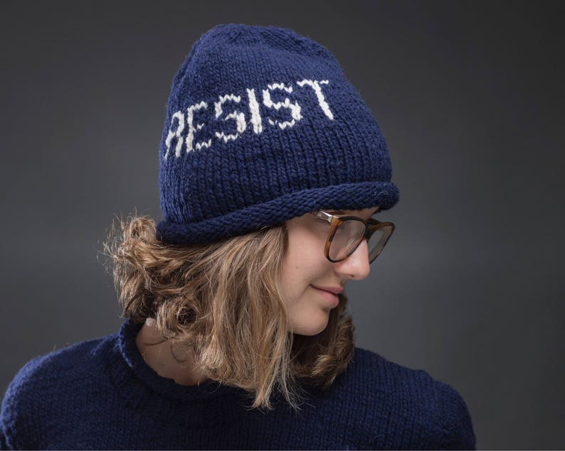 9e7c8cdce RESIST Hat Knit Wool Beanie Protest Cap Unisex Navy Blue Black rolled edge  winter beanie hat to protest