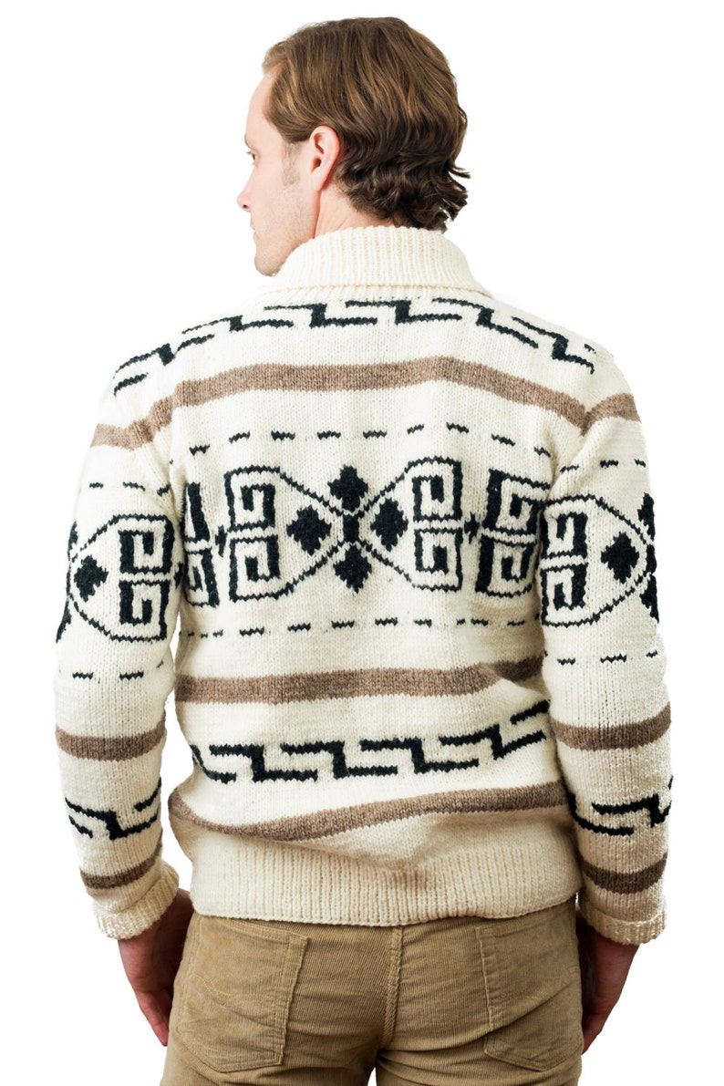 Men's Vintage Sweaters, Retro Jumpers 1920s to 1980s Mens cardigan sweater Dude style costume hand knit wool Cowichan style mens zip winter sweater $119.00 AT vintagedancer.com