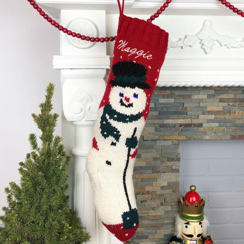 4e93796b56d Christmas Stocking Personalized Knit Mary Maxim Snowman Wool