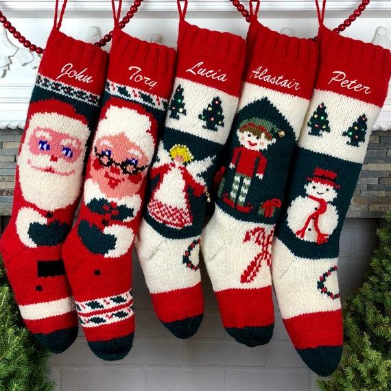 Christmas Stocking Personalized Knit Wool Bernat Vintage Mary Maxim Santa Family Stockings Custom Christmas Stocking