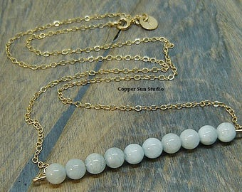 Aquamarine Necklace, Gold Necklace, Blue Aquamarine Jewelry, Aquamarine Bar, March Birthstone, Natural Stone Necklace, Minimalist Necklace