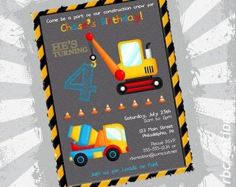 Construction Birthday Invitations, Truck Invitations, Construction Party, Trucks Party - DigitalPrintables