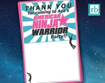 Ninja Warrior Party, Girl Ninja Warrior Thank You, ANW Birthday Party, Ninja Warrior Thank You - Digital Printables