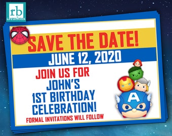 PRINTED Avenger Save the Date Card, Tsum Tsum Save the Date Card, Avenger Tsum Tsum Party Save the Date Card - Printed Cards w/ Envelopes