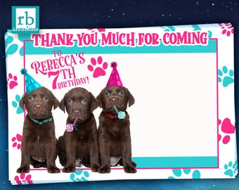 Puppy Party Thank You Notes, Puppy Party Birthday, Dog Party Printables - Digital Printable