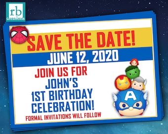 Avenger Save the Date Card, Tsum Tsum Save the Date Card, Avenger Tsum Tsum Party Save the Date Card, Avenger Party - Digital Printables
