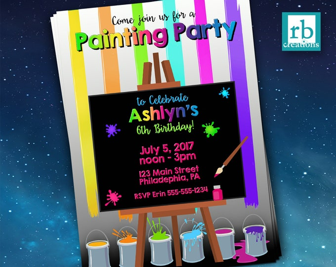 Painting Party Invitations, Paint Party Invitation, Paint Birthday, Art Party, Art Party, Paint and Play Invitation - Digital Printable