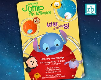 Trampoline Tsum Tsum Party Invitation, Tsum Tsum Invitations, Jump Flip Bounce Birthday Party, Tsum Tsum Birthday Invite - Digital Printable