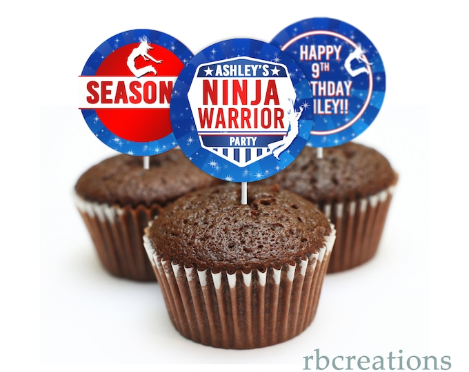 Girls Ninja Warrior Party Cupcake Toppers, Ninja Warrior Birthday Party, Ninja Party - Digital Printables