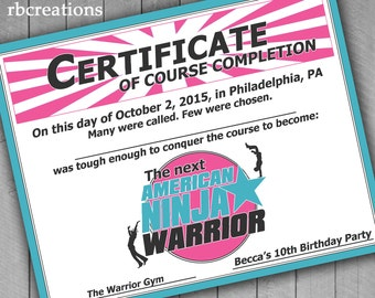 Ninja Warrior Party Favor Certificate, Ninja Warrior Girl Birthday, Girls Ninja Party Favor - Digital Printables