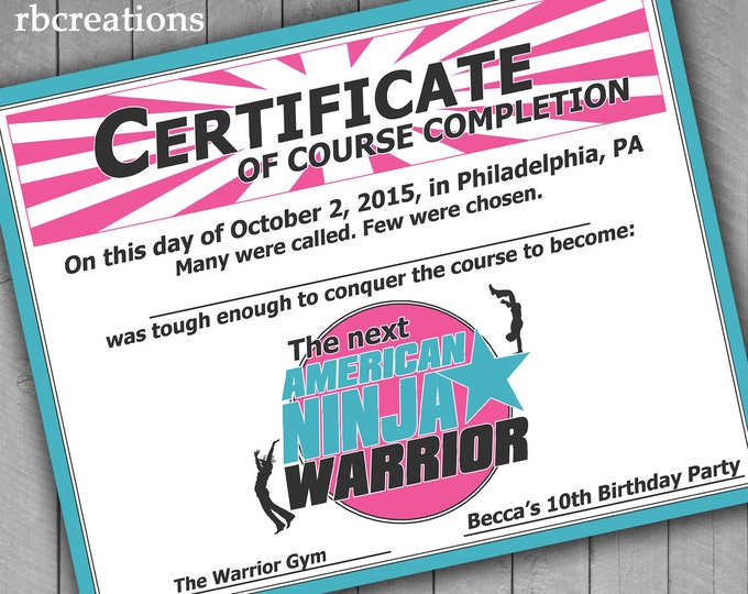 Ninja Warrior Party Favor Certificate, Ninja Warrior Girl Birthday, Girls Ninja Party Favor - Digital Printables