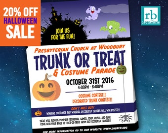 Trunk or Treat, Halloween flyer, Block Party, Autumn flyer, Treat or Treat Flyer Design, October Flyer, Flyer Design - Digital Printables
