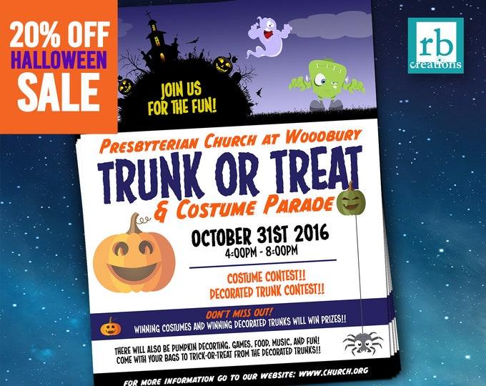Trunk or Treat, Halloween flyer, Block Party, Autumn flyer, Treat or Treat Flyer Design, October Flyer, Flyer Design - Digital Printables