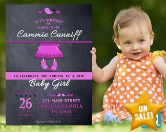 Chalk Baby Shower Invitation, Baby Shower Invites, Baby Shower Invitation Girl, Baby Shower Decorations - Digital Printable