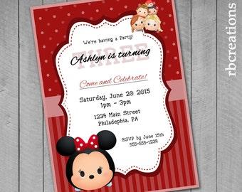 Minnie Mouse Tsum Tsum Party Invitations, Tsum Tsum Party, Tsum Tsum Invitation, Red and White Polka Dots - Digital Printable