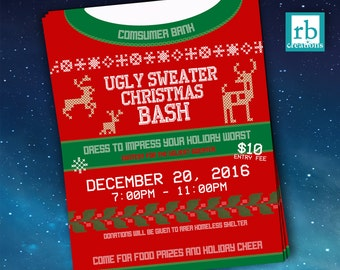 Event Flyer, Ugly Sweater Flyer, Christmas Flyer, Ugly Sweater Party Flyer, Holiday Flyer, Company Flyer Design - Digital Printables