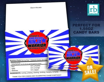 Ninja Warrior Party Candy Wrapper, Ninja Warrior Birthday Party, Hershey Bar Wrapper, ANW Party - Digital Printables